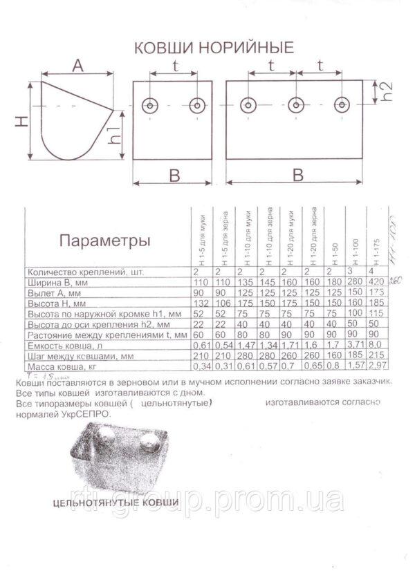 Ковш норийный Н 1-20 цельнотянутый - в Украине - РТІ Україна
